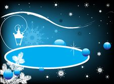 Blue Banner With Snowflakes Stock Images