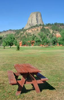 Picnic Table By Devil S Tower Monument Stock Photos