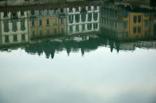 Buildings Reflected On The River Arno Royalty Free Stock Image