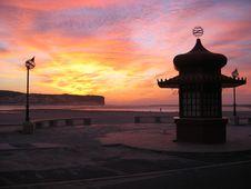 Sunset At Foz Do Arelho Stock Photography