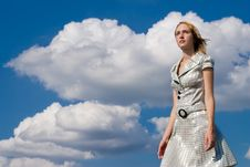 Free Girl On A Background Clouds Stock Images - 6189254