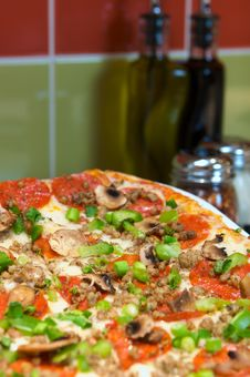 Pepperoni Pizza With Mushrooms And Chives Stock Photography