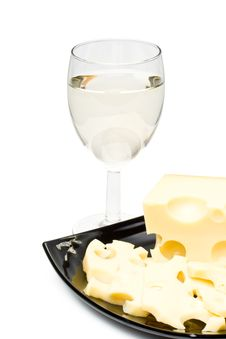 Free Wine In A Glass And Cheese Stock Photography - 6189492