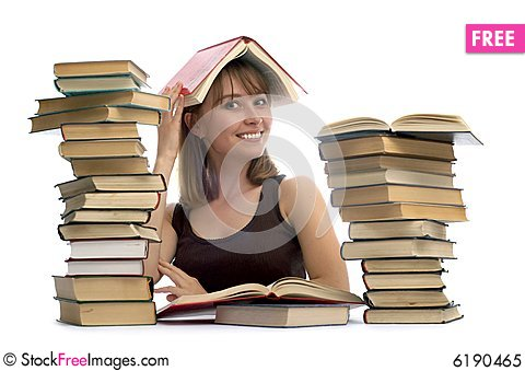 Free Young Woman And A Pile Of Books Royalty Free Stock Photo - 6190465