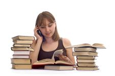 Young Woman And A Pile Of Books Stock Photo
