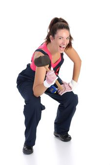 Woman With Black Rubber Mallet Stock Photography