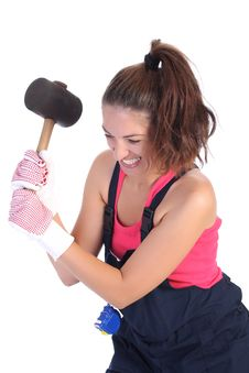 Free Woman With Black Rubber Mallet Stock Photography - 6190512