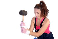 Free Woman With Black Rubber Mallet Royalty Free Stock Photo - 6190525