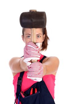 Free Woman With Black Rubber Mallet Stock Photo - 6190610