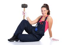 Free Woman With Black Rubber Mallet Royalty Free Stock Images - 6190649