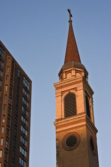 Tower Of A Church In Downtown Chicago Stock Photos