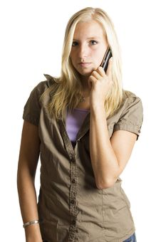 Free Blond Teenage Girl On The Phone Stock Images - 6191694
