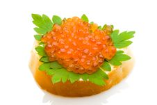 Isolated Sandwich With Red Salmon Caviar Royalty Free Stock Images