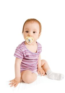 Free Little Girl With Pacifier Sitting Stock Photos - 6199033