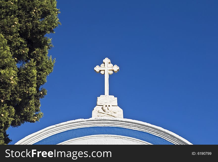 Cross over a cemetery entrance