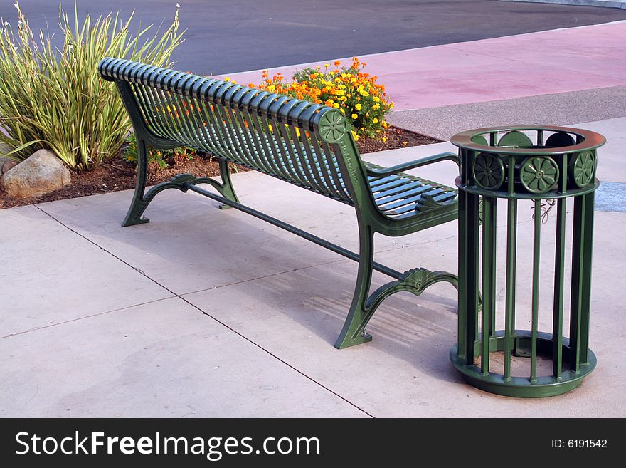 Back Of A Park Bench And Trash Can Free Stock Images Photos