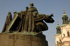 Jan Hus Monument In Prague Stock Photos