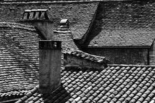 Free Rooftops In Vezelay, Central France (black And White) Royalty Free Stock Image - 625946