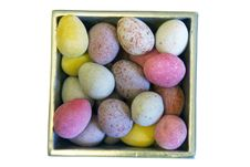 Mini Candy Chocolate Eggs In A Polished Silver Box (isolated) Royalty Free Stock Photos