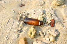 Free Bottle On The Sand Stock Photo - 628920