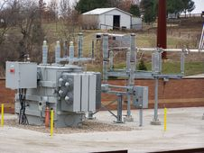 Substation Transformer Stock Photo