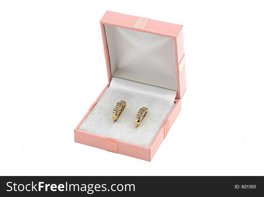 Jewelery gold earing with diamond in box