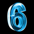 Free 3d Number 6 In Blue Glass Stock Image - 6205631