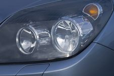 Car Headlights In A Close Up Royalty Free Stock Photos