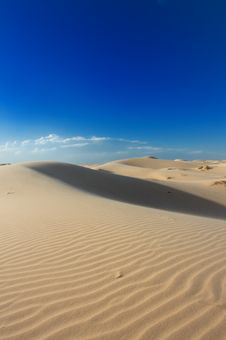 Golden Sand Dunes With A Blue Sky Royalty Free Stock Image