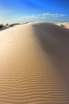 Textured Sand Dunes On A Blue Sky Stock Photography