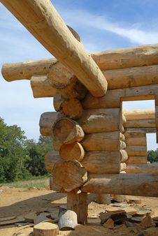 Log Home Construction Stock Photo
