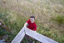 Free Man On Ladder - Horizontal Royalty Free Stock Image - 6201816