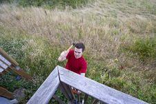 Free Man On Ladder - Horizontal Stock Images - 6201844