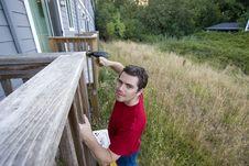 Free Man On Ladder - Horizontal Royalty Free Stock Image - 6201896
