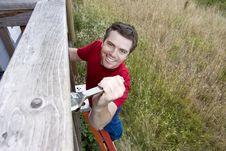 Free Man On Ladder - Horizontal Stock Images - 6201904