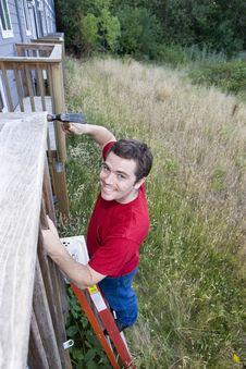 Free Man On Ladder - Vertical Stock Photos - 6201943
