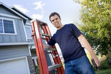 Free Man With Ladder And Hammer - Horizontal Royalty Free Stock Photography - 6202057