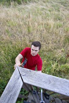 Free Man On Ladder - Vertical Royalty Free Stock Photo - 6202135