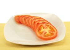 Free Sliced Tomato On Plate Stock Image - 6202301