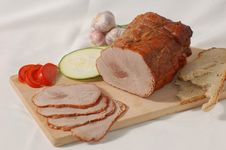 Ham With Bread And Vegetables Royalty Free Stock Images