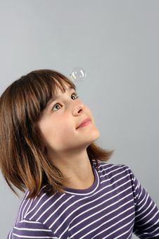 Girl And Bubble Royalty Free Stock Images