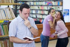 Free Three Students In Library Royalty Free Stock Photography - 6202987