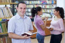 Free Three Students In Library Stock Photo - 6202990