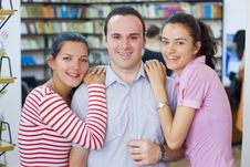 Free Three Students In Library Royalty Free Stock Photo - 6203035