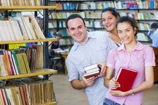 Free Three Students In Library Royalty Free Stock Photo - 6203045