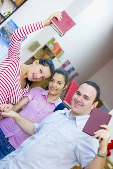 Free Three Students In Library Royalty Free Stock Photo - 6203095