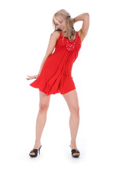 Free Portrait Of The Girl In A Red Dress Royalty Free Stock Images - 6203119