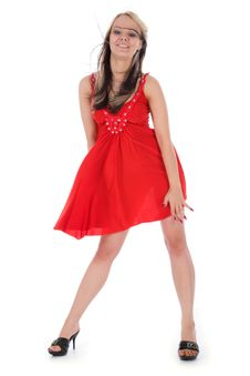 Free Portrait Of The Girl In A Red Dress Royalty Free Stock Image - 6203136
