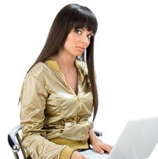 Free Female Student Sitting With Laptop On Her Lap Stock Photography - 6203852