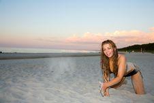 The Fine Girl On A Beach Stock Photos